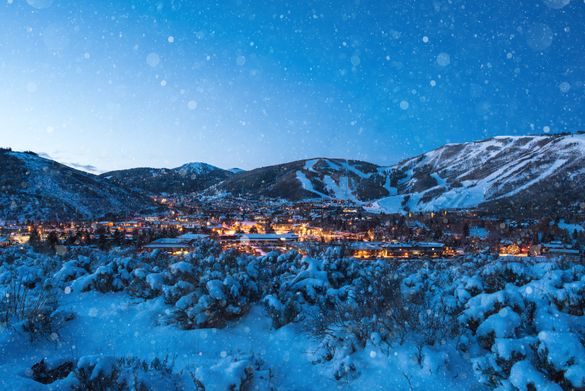 The town of Park City in winter twilight