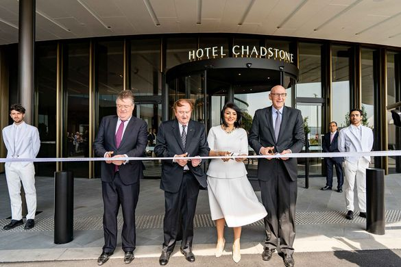 : l-r Vicinity Centres CEO and Managing Director Grant Kelley; Mr John Gandel AC; Victorian Minister for Suburban Development, The Hon. Marlene Kairouz MP; Chairman & CEO, Accor Asia Pacific, Michael Issenberg.