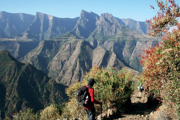 Trekking in the Simien Mountains, Ethiopia