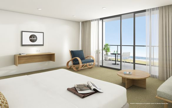 Artist's impression of a guest room at Abode Malua Bay