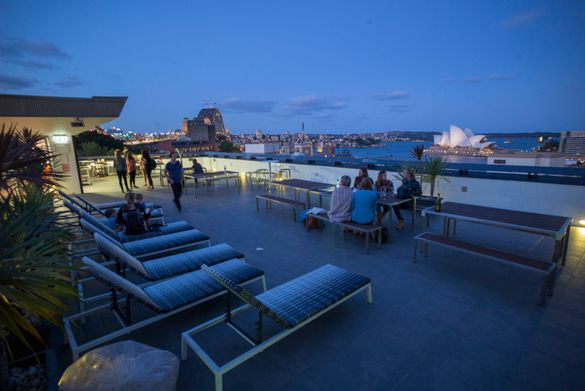 Sydney Harbour YHA rooftop by night