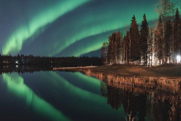 Northern Lights over Chena Lake, just outside of Fairbanks, Alaska.