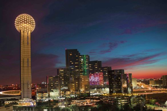 Dallas skyline with the Reunion Tower GeO-Deck (left).