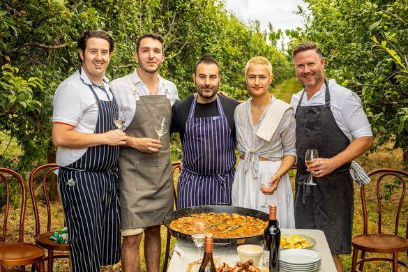 Orange Food Week 2021 Hero Young Gun Chefs (L-R) Chris Tudor, Dom Aboud, Ruben Lopez, Lily Hahn-Stevens, Richard Learmonth