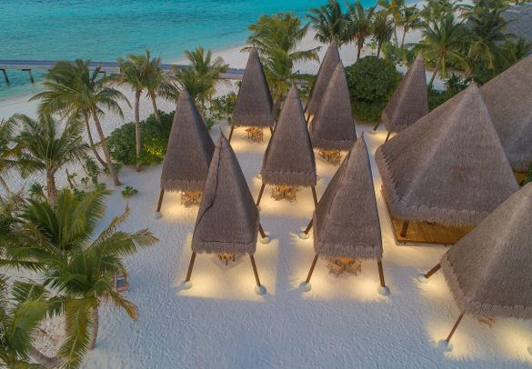 Dine in private pods at Heritance Aarah's Ginifati beach grill