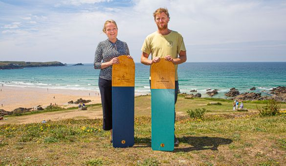 Veryan Palmer, The Headland director, is pictured with Jamie Johnstone, of Dick Pearce Bellyboards
