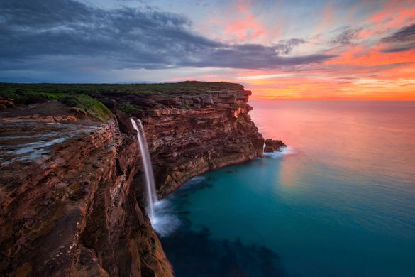 Sunrise at Curracurrong Falls and Eagle Rock in the Royal National Park, Sydney.
