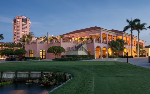 An evening view from the Golf Club of The Boca Raton Tower
