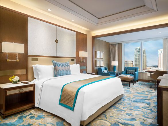 Deluxe room at The St. Regis Macao with views overlooking the Cotai Strip