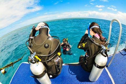 Passengers on board Aquaquest at Stonehenge Reef, off Port Douglas