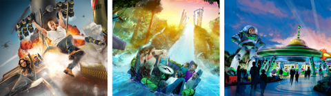 Thrilling new attractions will launch guests further and faster than ever, including (left to right) the Fast & Furious - Supercharged ride at Universal Studios Florida, the world's tallest river rapid drop at SeaWorld Orlando and Toy Story Land at Disney