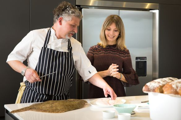 Culinary collaboration - Nadia Macer-Wright, co-managing director, Cornish Gems with Chef Ben Tunnicliffe.