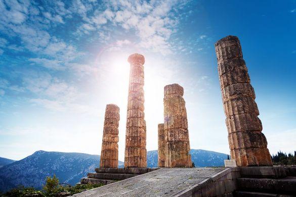 The ruins of the Temple of Apollo in Delphi, Greece