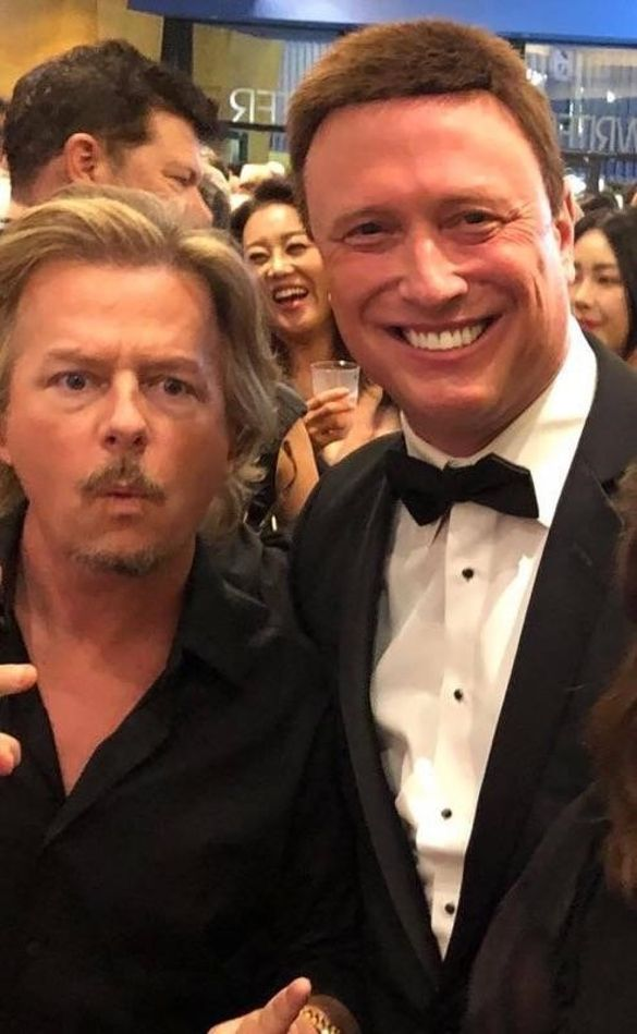 David Spade and Robert Johnson on the red carpet of the movie Warning Shot, filmed in Corsicana, Texas.