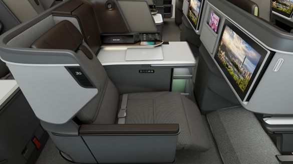 EVA Air's new Royal Laurel Class business cabin aboard it first 787-9 Dreamliner