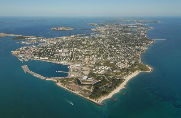 An aerial photo of Key West, Fla., the Southernmost City in the Continental United States and last of the islands in the Florida Keys island chain connected to the South Florida mainland by the Keys Overseas Highway.
