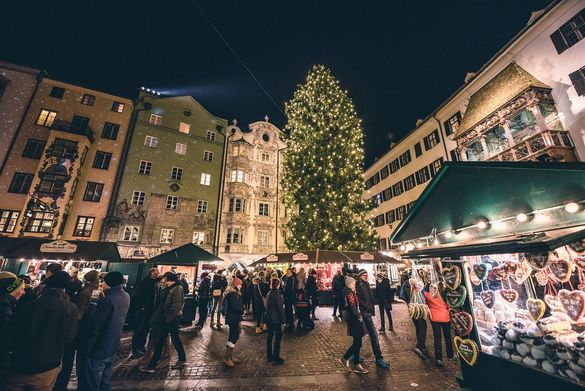 The Christmas market in Innsbruck, Austria, which can be seen on the 'Christmas Markets of Austria and Bavaria' itinerary