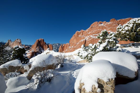 Garden of the Gods Park covered in snow