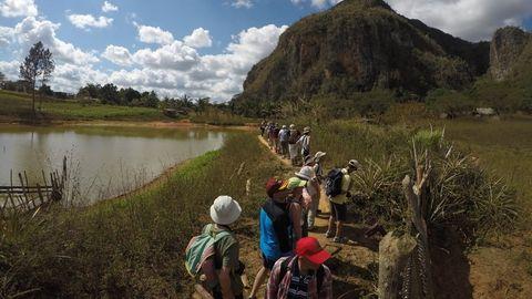 Group walking in Vinales