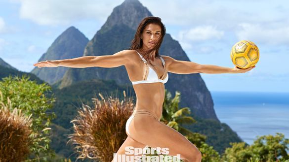 Alex Morgan in Saint L ucia for Sports Illustrated Swim suit 2019 with the Pitons as a backdrop. Photo credit: Ben Watts/ Sports Illustrated . On sale now.